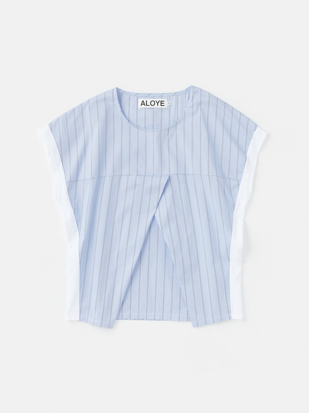 ALOYE Shirt Fabrics Women's Capped Sleeve T-shirt Blue Stripe-White