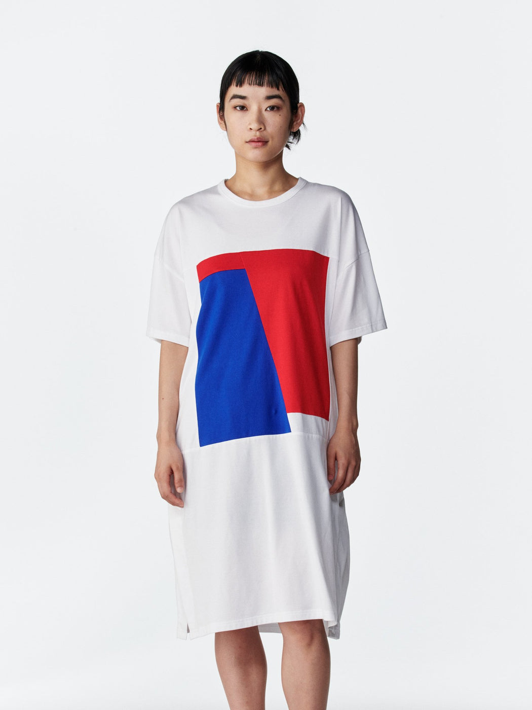 ALOYE Color Block Women's Short Sleeve T-shirt Dress White-Red-Blue