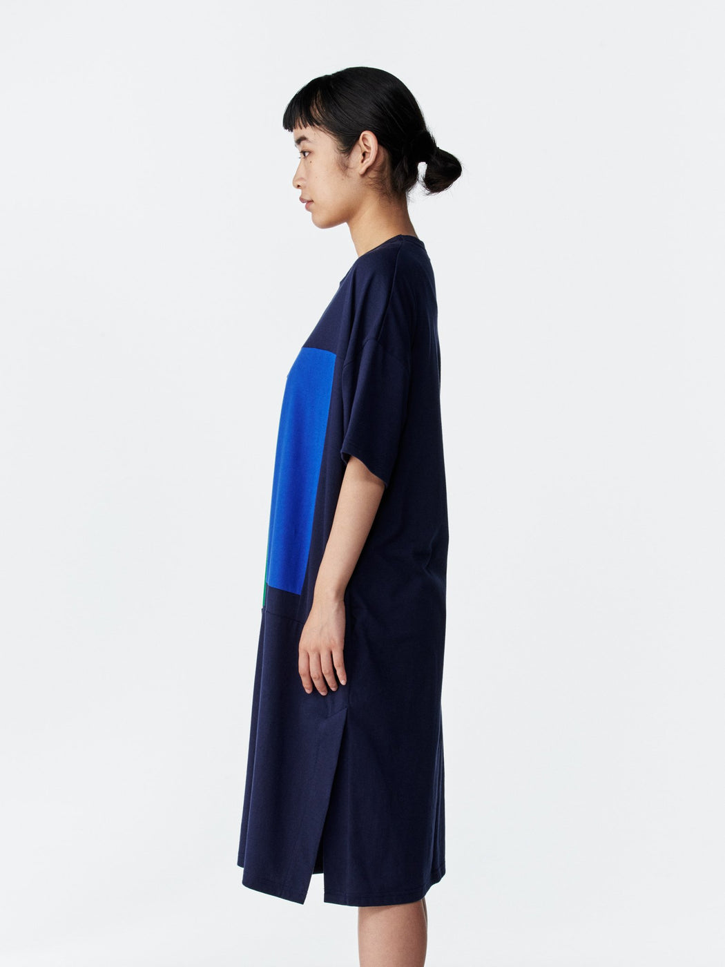 ALOYE Color Block Women's Short Sleeve T-shirt Dress Navy-Blue-Green