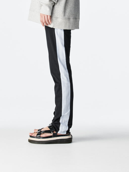 ALOYE Color Block Women's Leggings Pant Black-Blue Stripe