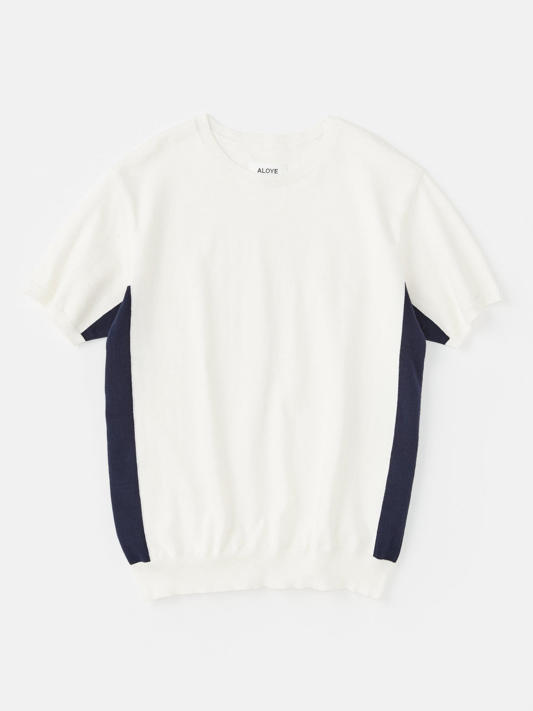 ALOYE G.F.G.S. Short Sleeve Cotton Sweater White-Navy