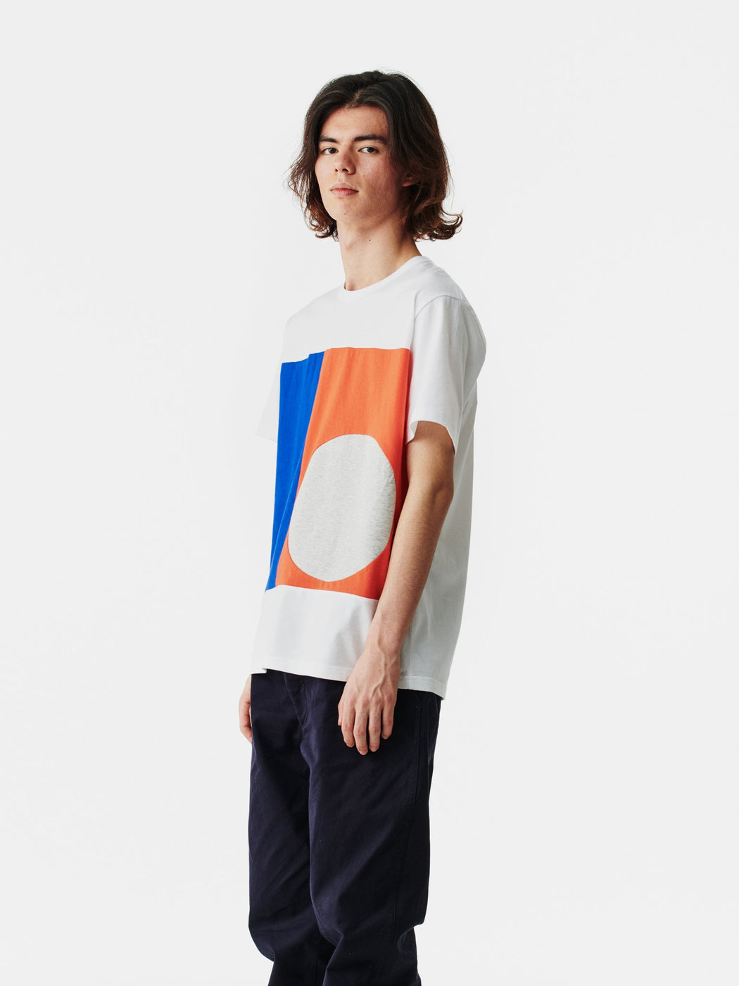 ALOYE Color Block Short Sleeve T-shirt White-Blue-Red