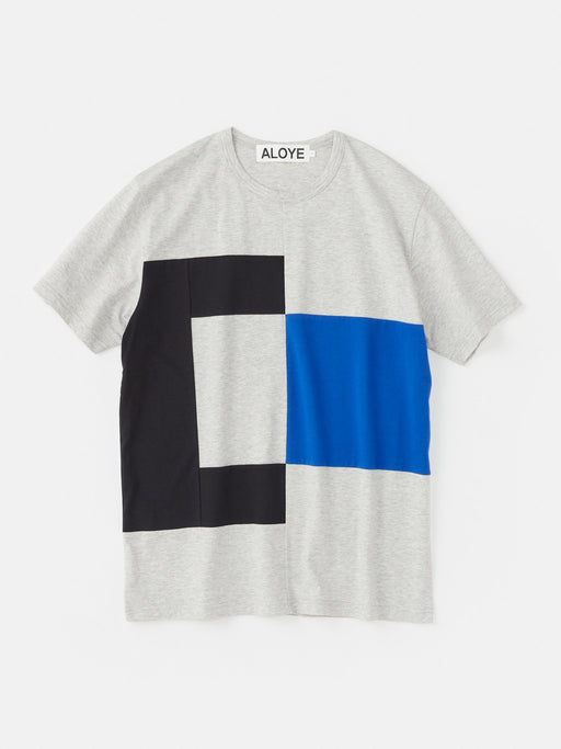 ALOYE Color Block Short Sleeve T-shirt Heather Gray-Blue