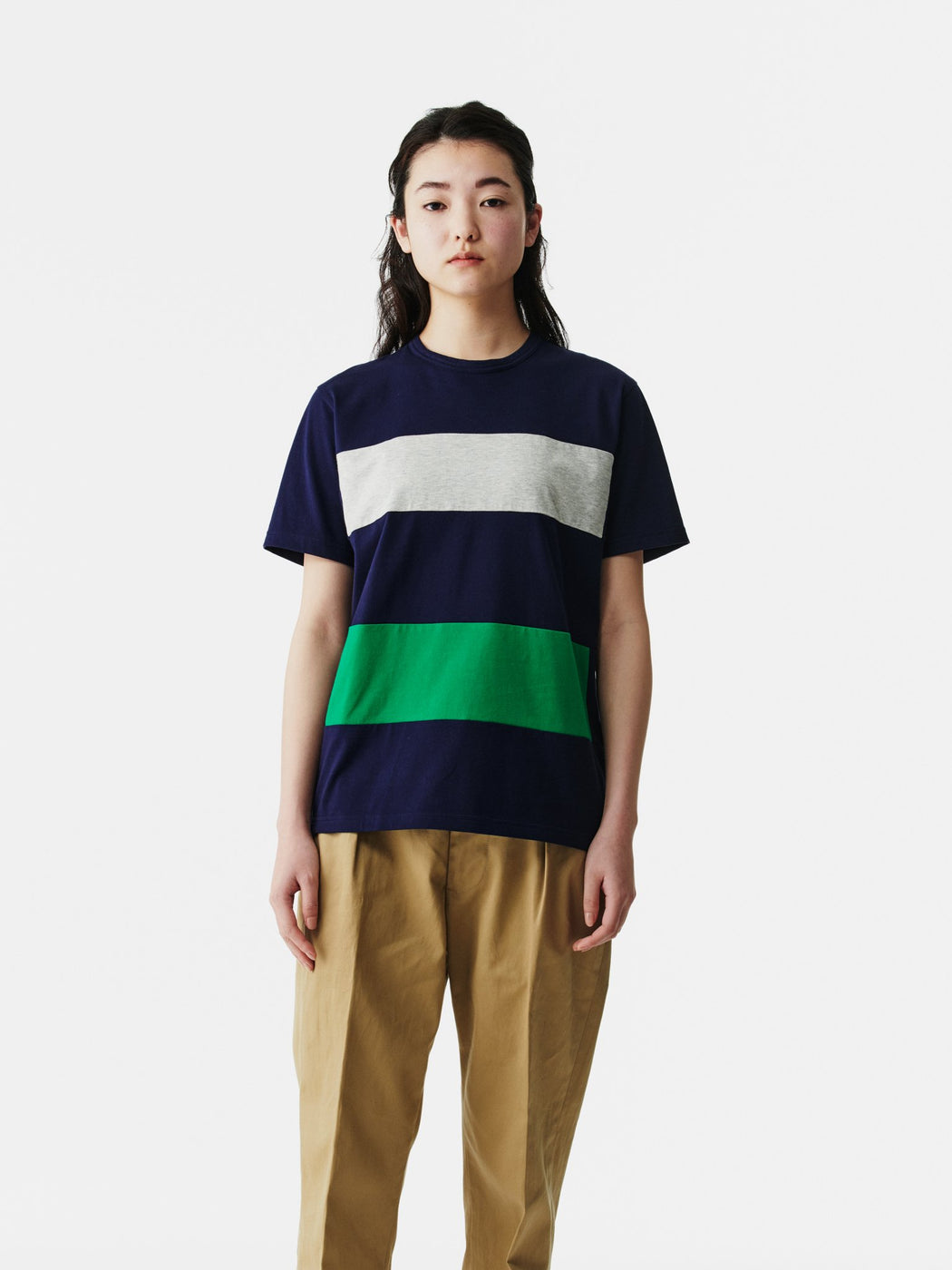 ALOYE Color Block Short Sleeve T-shirt Navy-Green