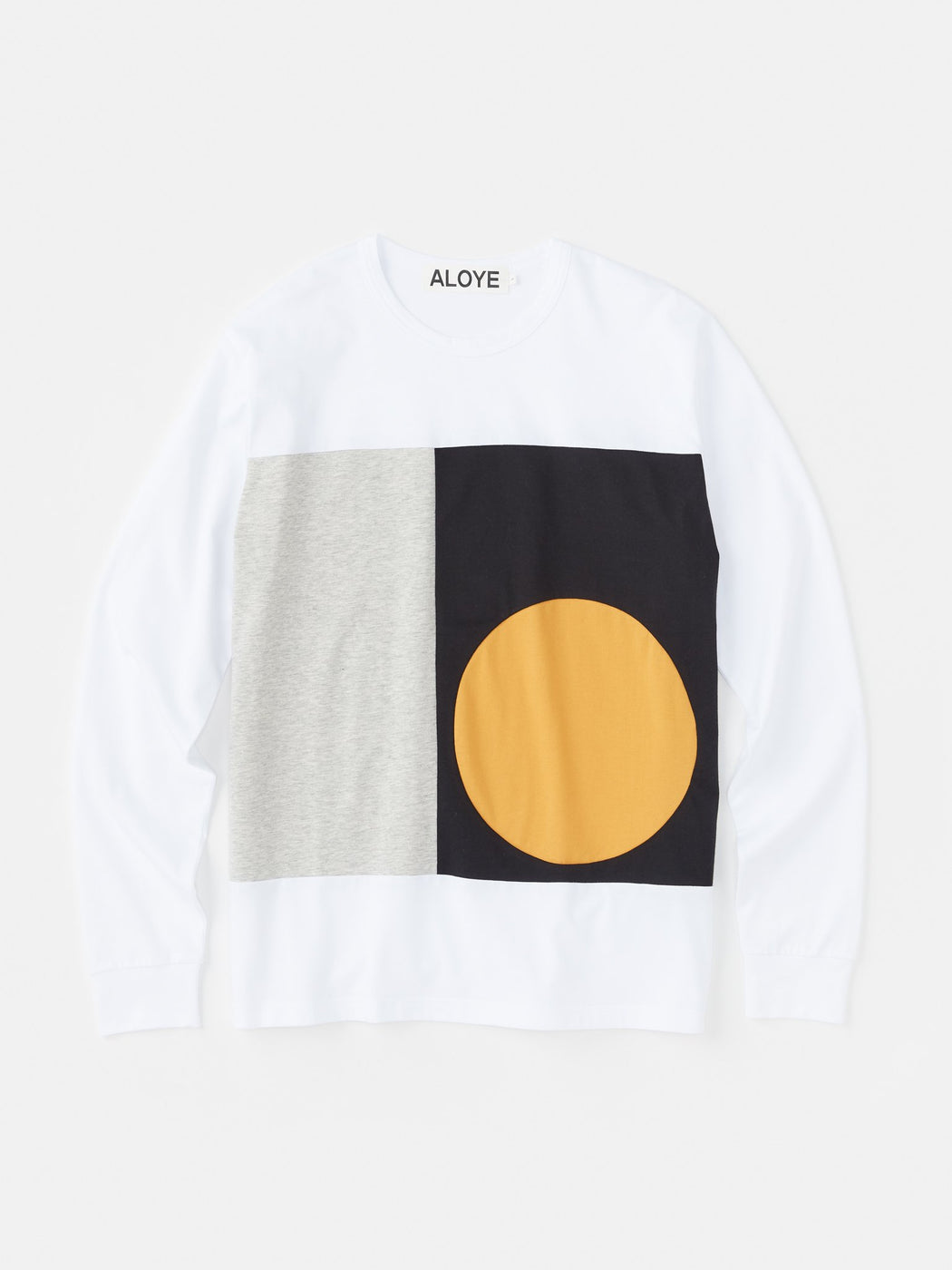 ALOYE Color Block Long Sleeve T-shirt White-Black-Mustard