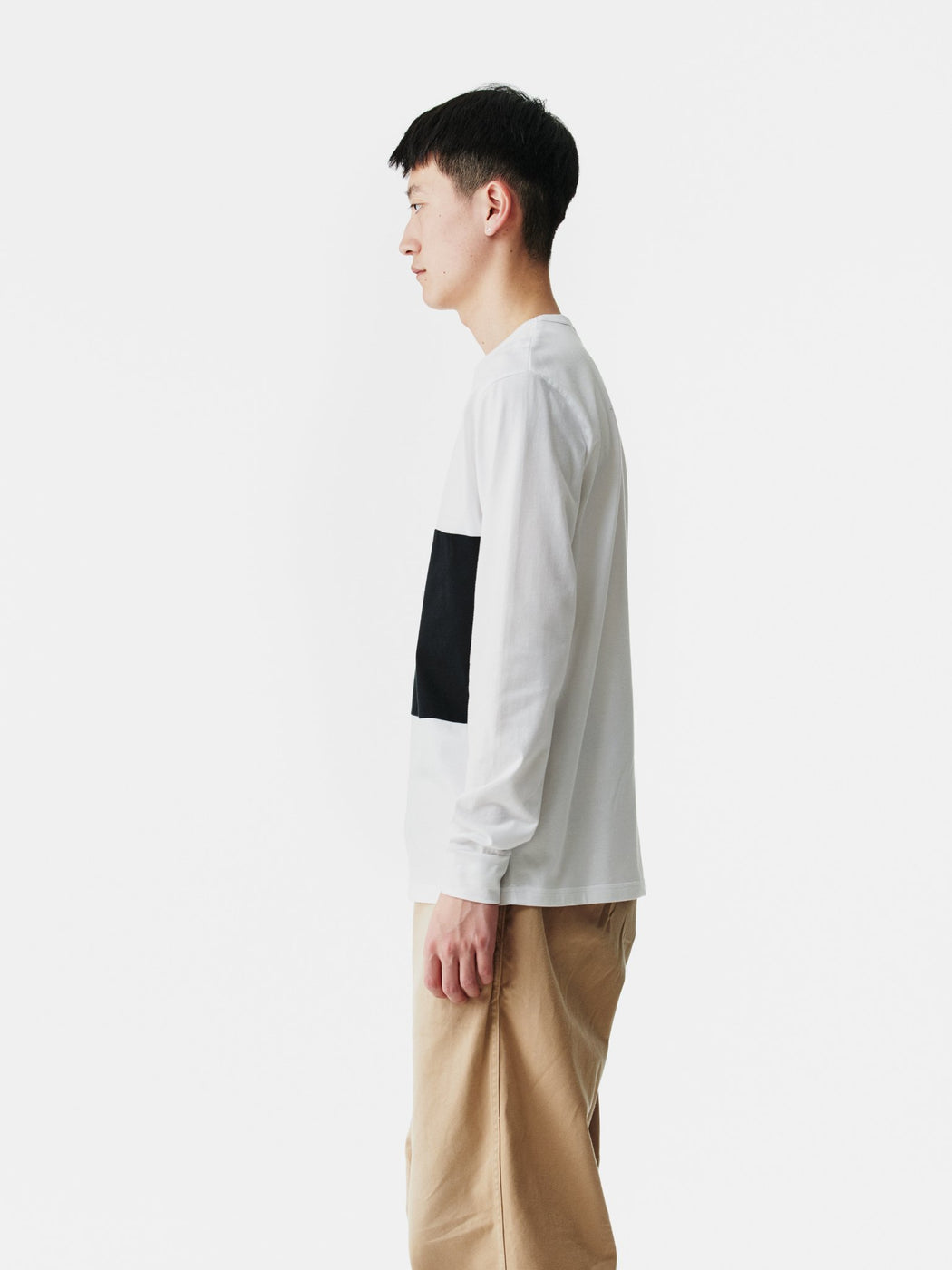 ALOYE Color Block Long Sleeve T-shirt White-Heather Gray