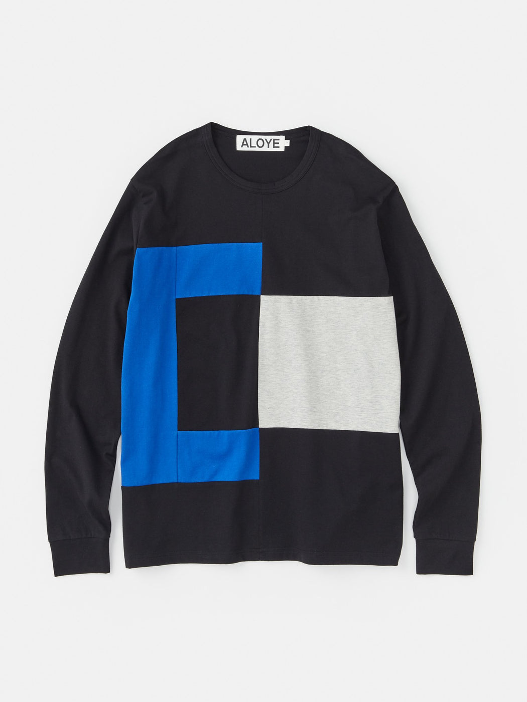 ALOYE Color Block Long Sleeve T-shirt Black-Blue