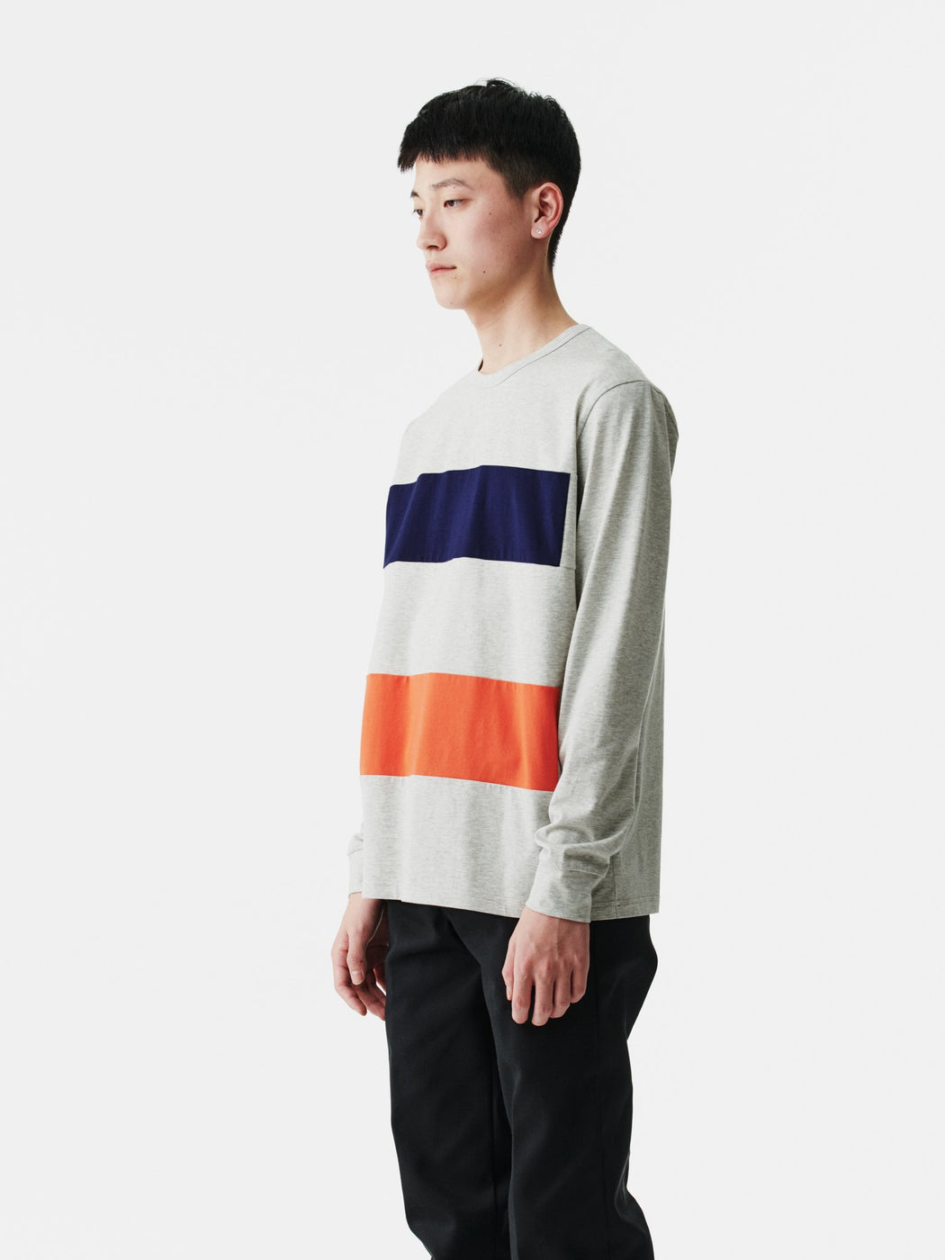 ALOYE Color Block Long Sleeve T-shirt Heather Gray-Red