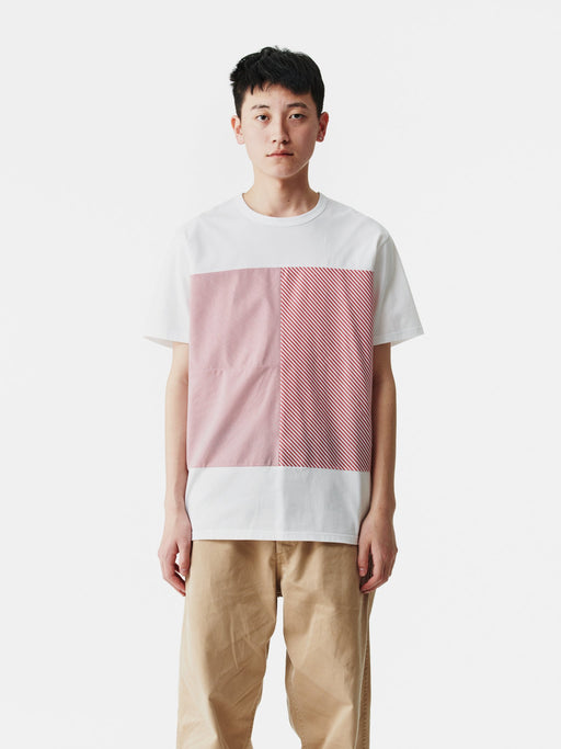 ALOYE Shirt Fabrics Short Sleeve T-shirt White-Red Stripe