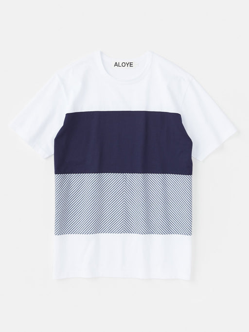 ALOYE Shirt Fabrics Short Sleeve T-shirt White-Navy Stripe