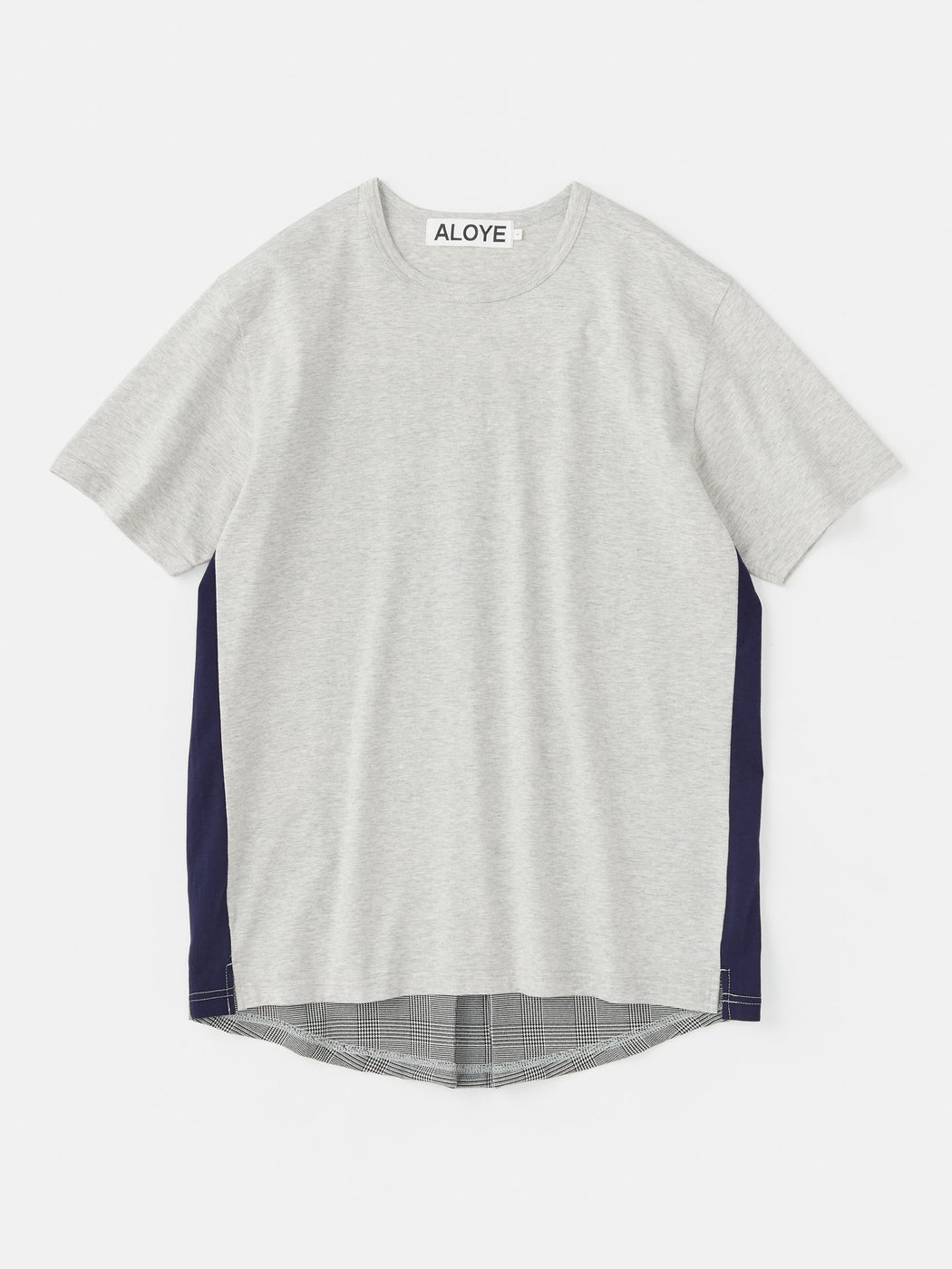 ALOYE Shirt Fabrics Short Sleeve T-shirt Heather Gray-Glen Plaid