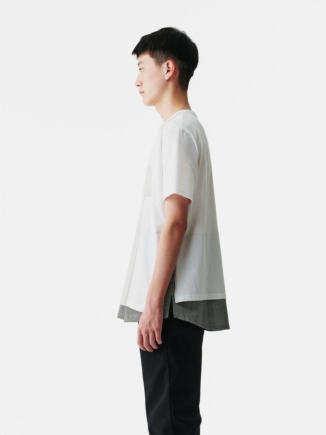 ALOYE Shirt Fabrics Short Sleeve Layerd T-shirt White-Glen Plaid