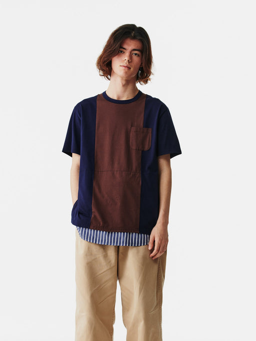 ALOYE Shirt Fabrics Short Sleeve Layerd T-shirt Navy-Navy Stripe