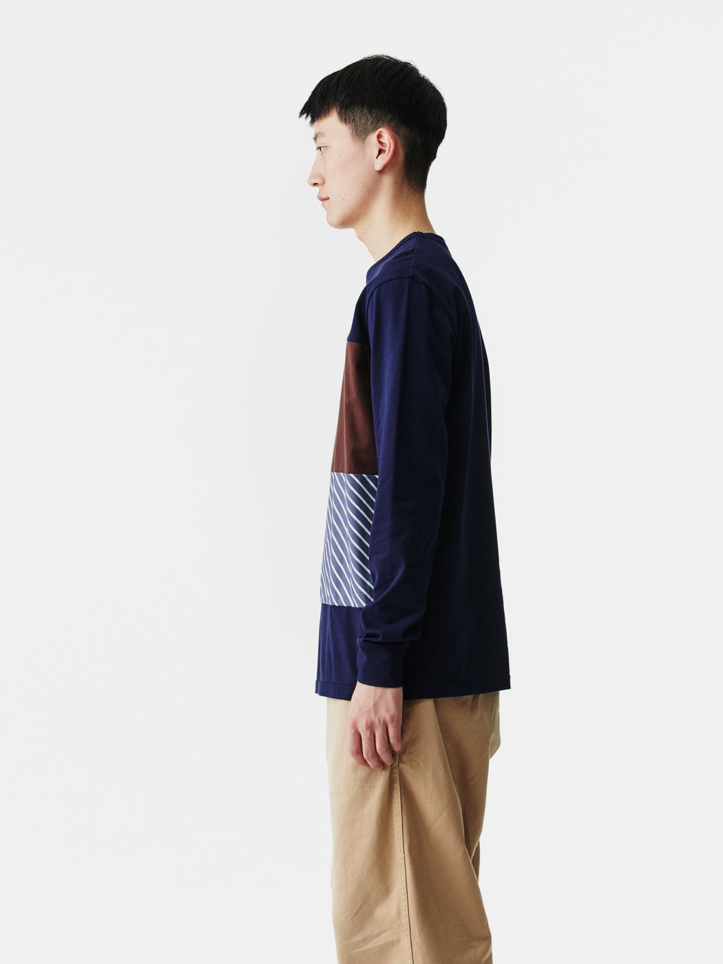 ALOYE Shirt Fabrics Long Sleeve T-shirt Navy-Navy Stripe