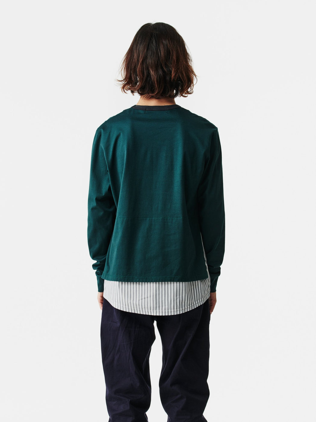 ALOYE Shirt Fabrics Long Sleeve Layerd T-shirt Dark Green-Fine Stripe