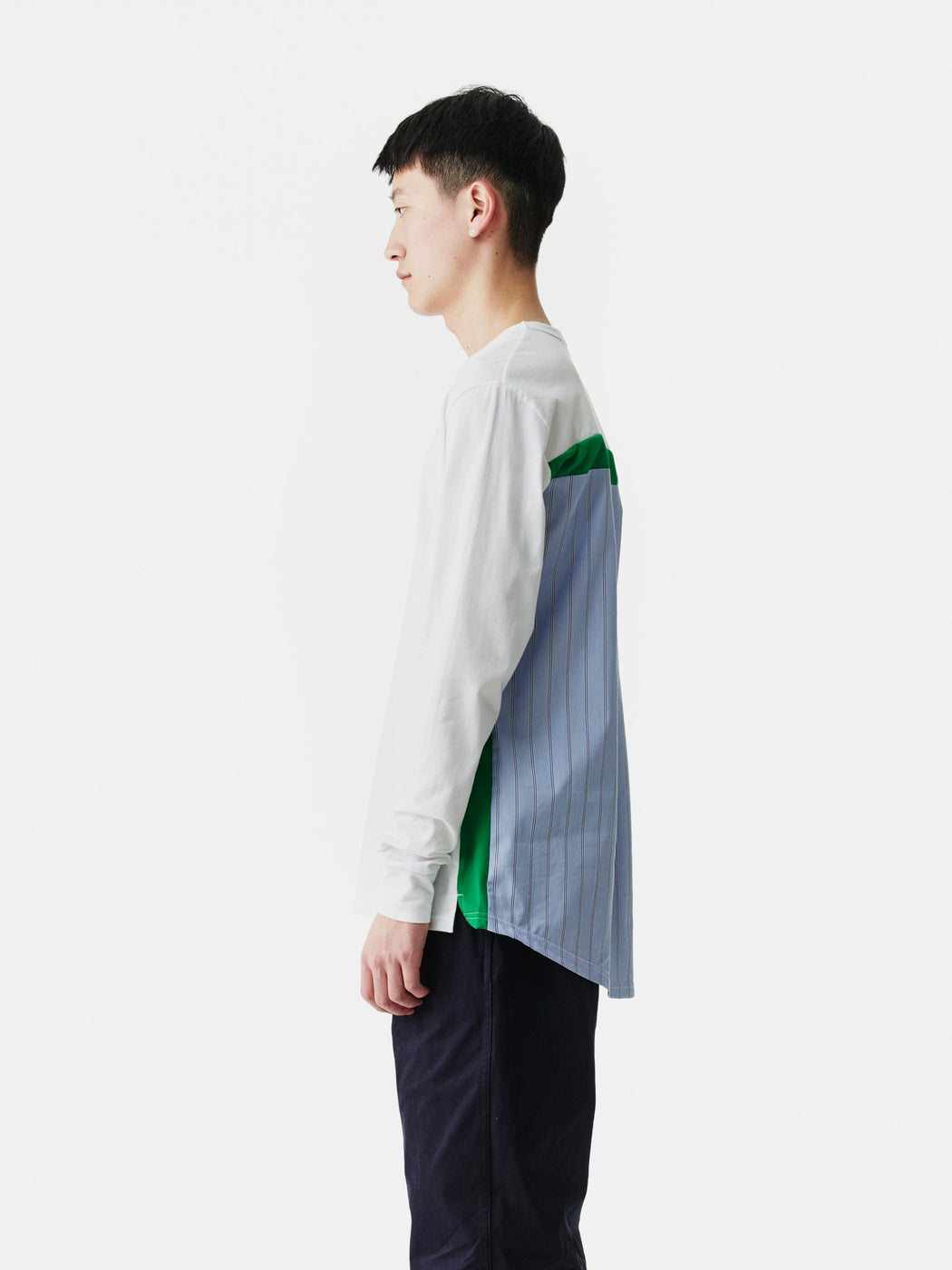 ALOYE Shirt Fabrics Long Sleeve T-shirt White-Green-Blue Stripe