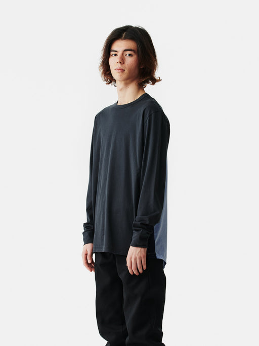 ALOYE Shirt Fabrics Long Sleeve T-shirt Dark Gray-Chambray