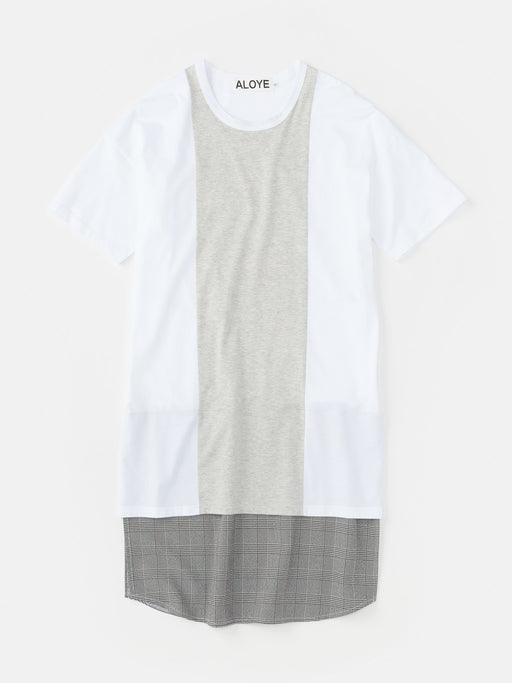 ALOYE Shirt Fabrics Women's Short Sleeve T-shirt Dress White-Glen Plaid