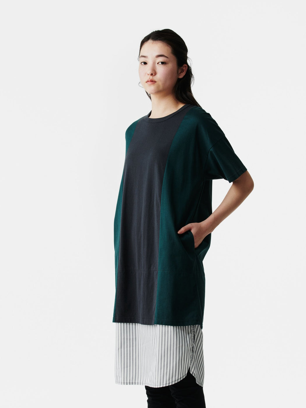ALOYE Shirt Fabrics Women's Short Sleeve T-shirt Dress Dark Green-Fine Stripe