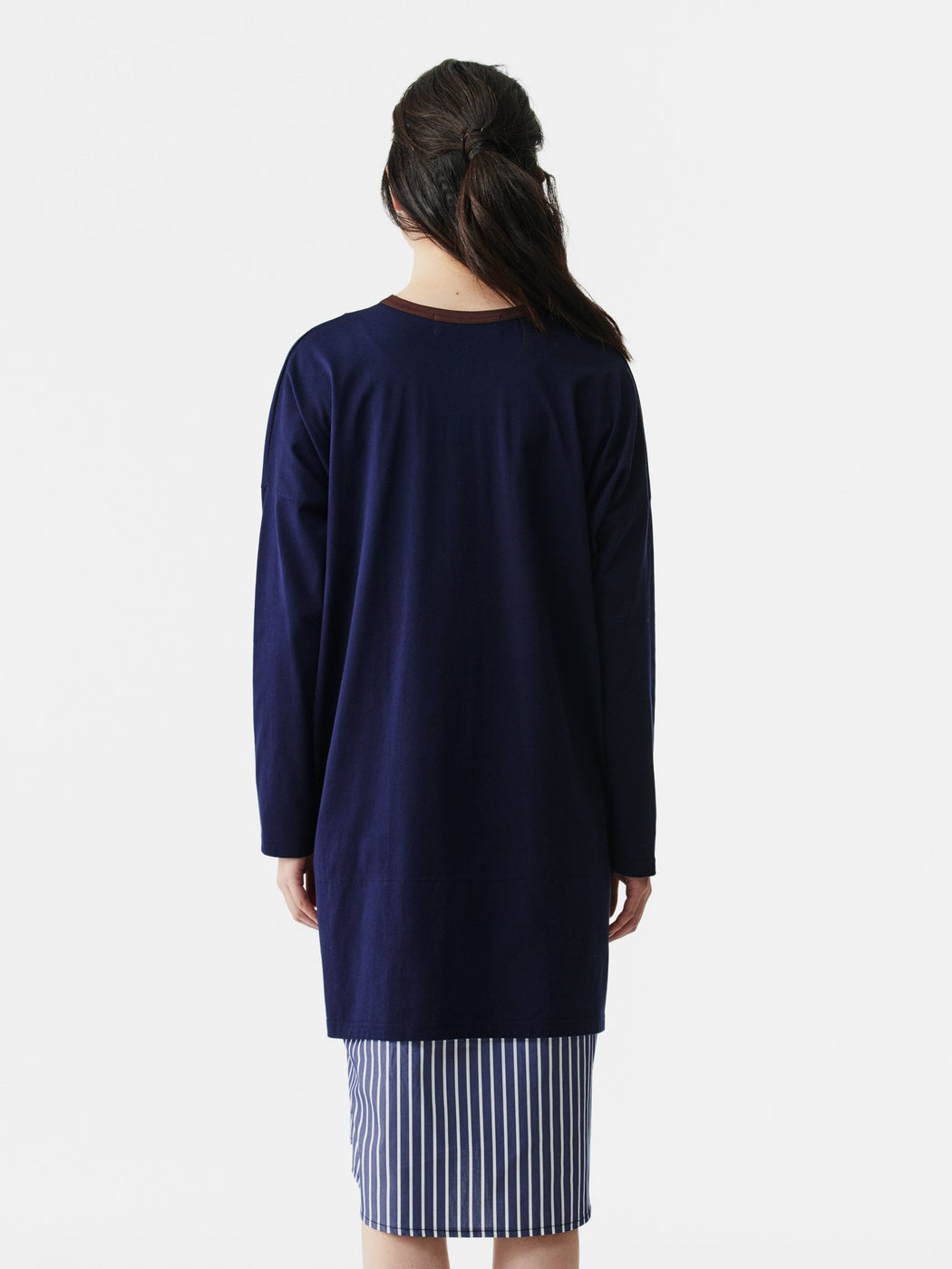 ALOYE Shirt Fabrics Women's Long Sleeve T-shirt Dress Navy-Navy Stripe