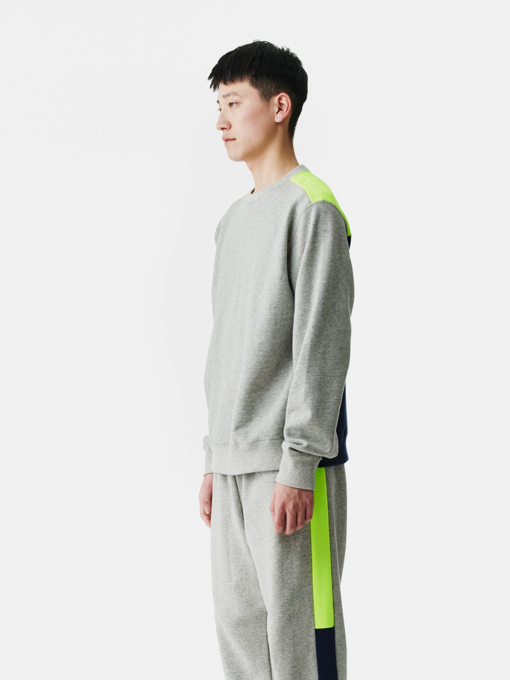 ALOYE Color Block Sweatshirt Heather Gray-Neon Yellow