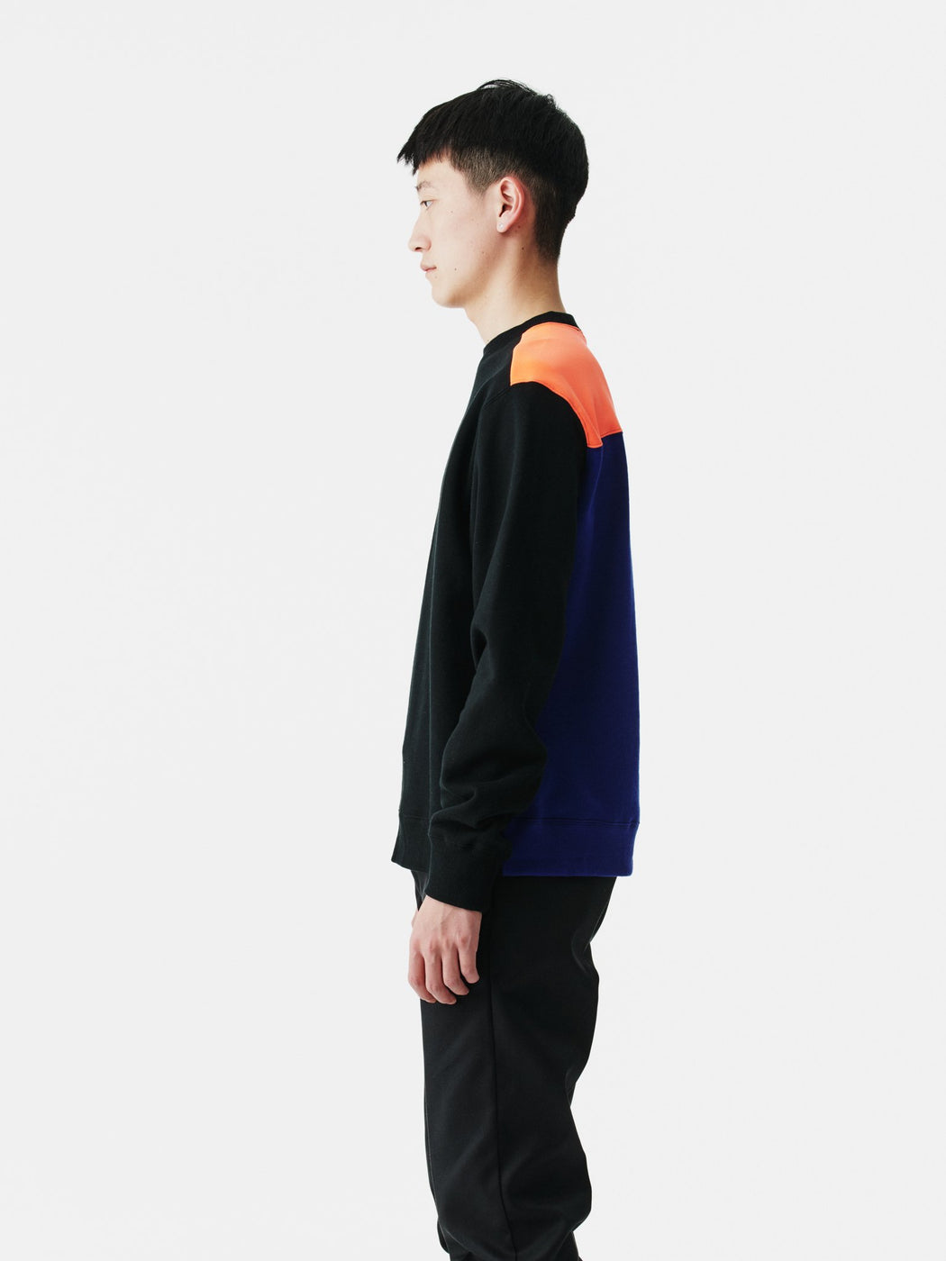 ALOYE Color Block Sweatshirt Black-Neon Orange