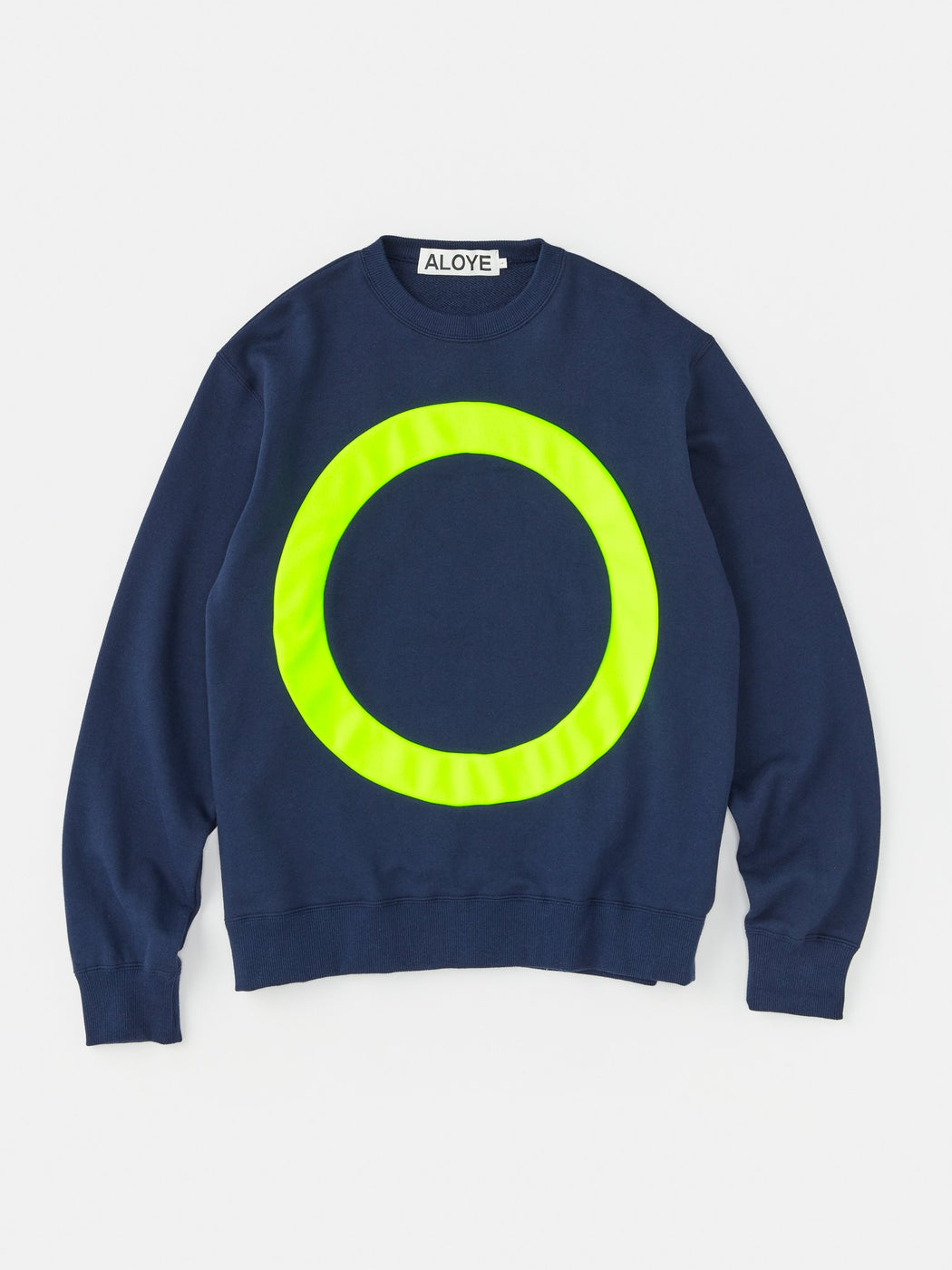 ALOYE Color Block Sweatshirt Navy-Neon Yellow