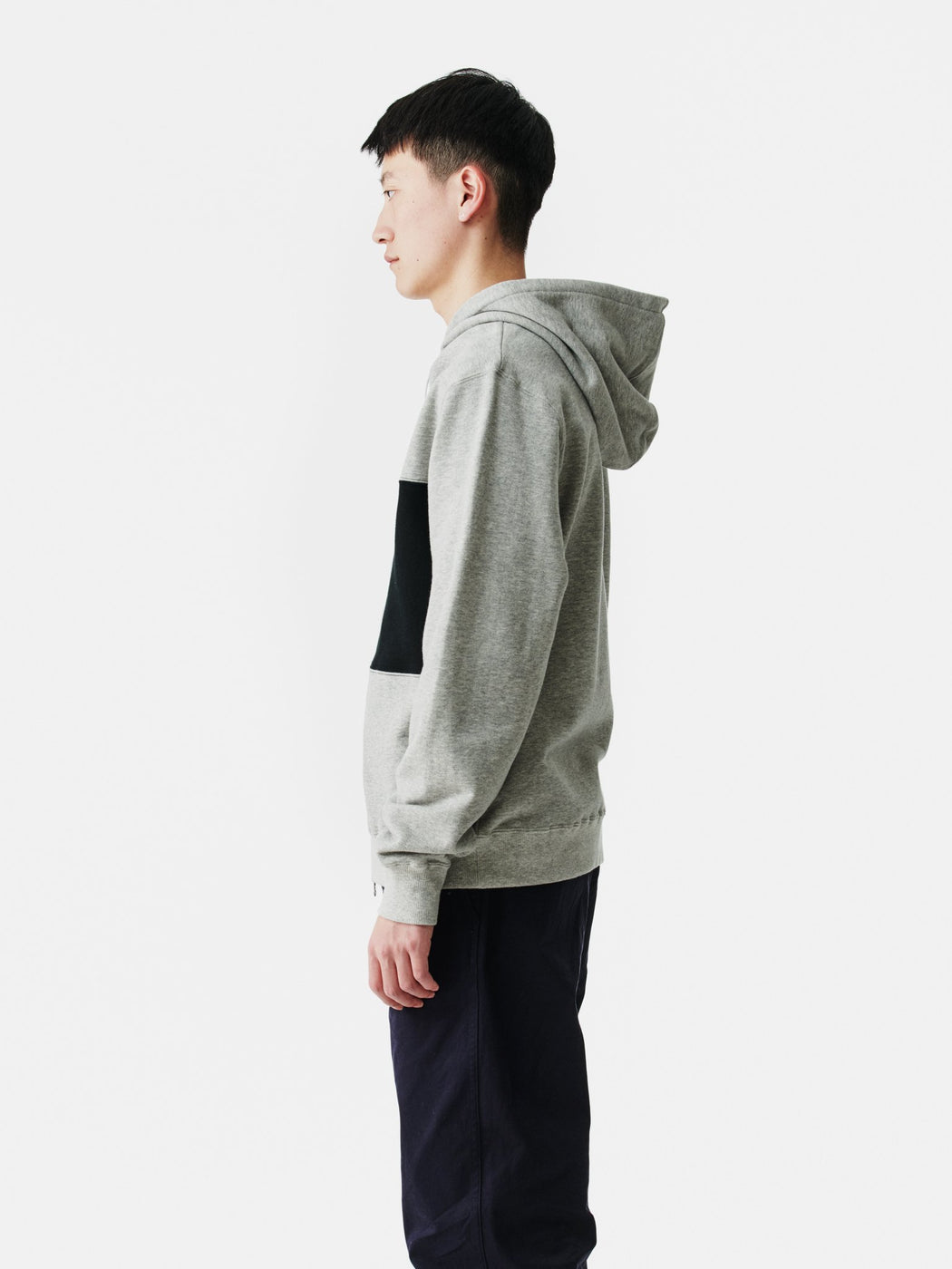 ALOYE Color Block Zip-Up Hoodie Heather Gray-Black