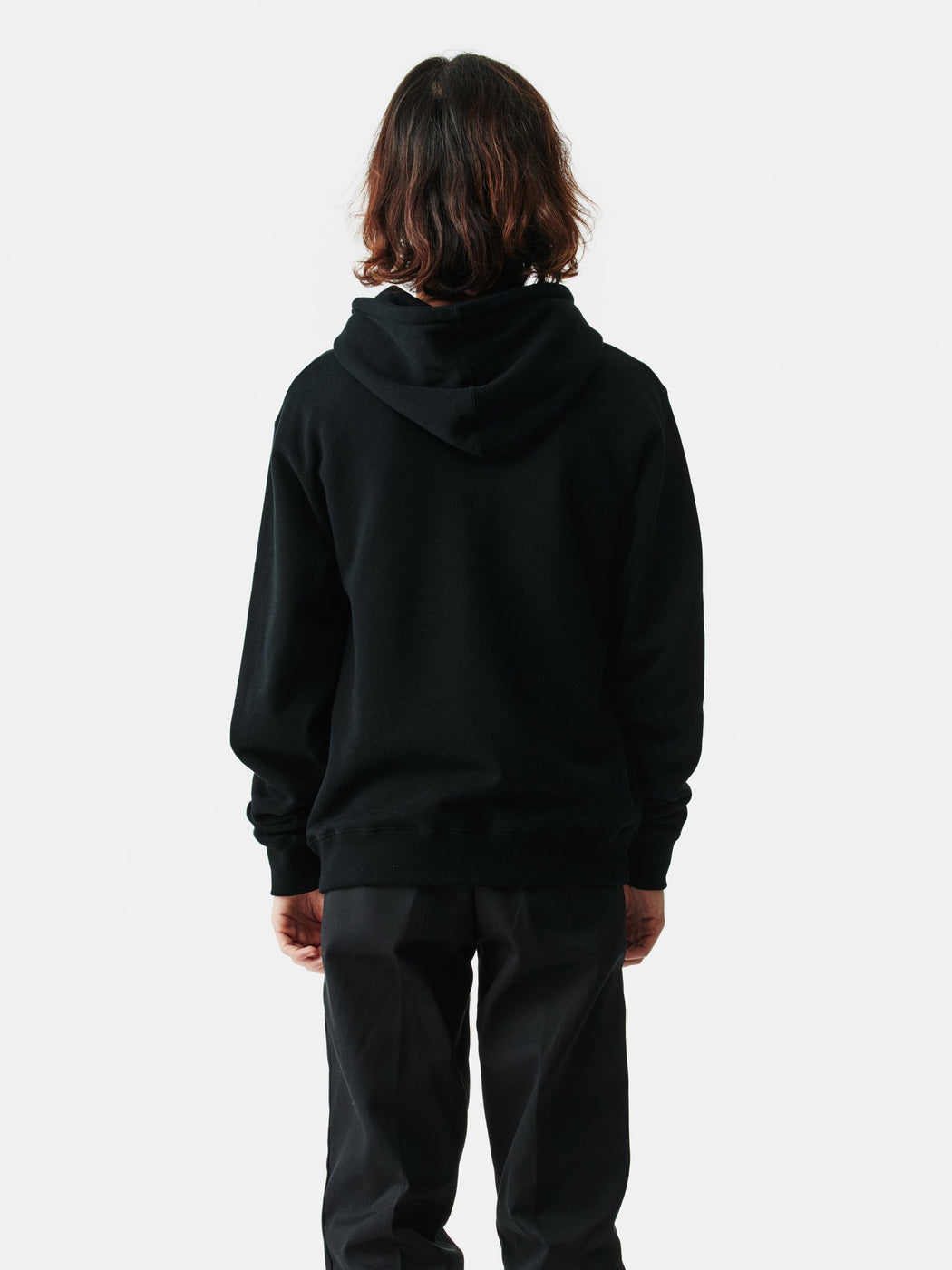 ALOYE Color Block Zip-Up Hoodie Black-Blue