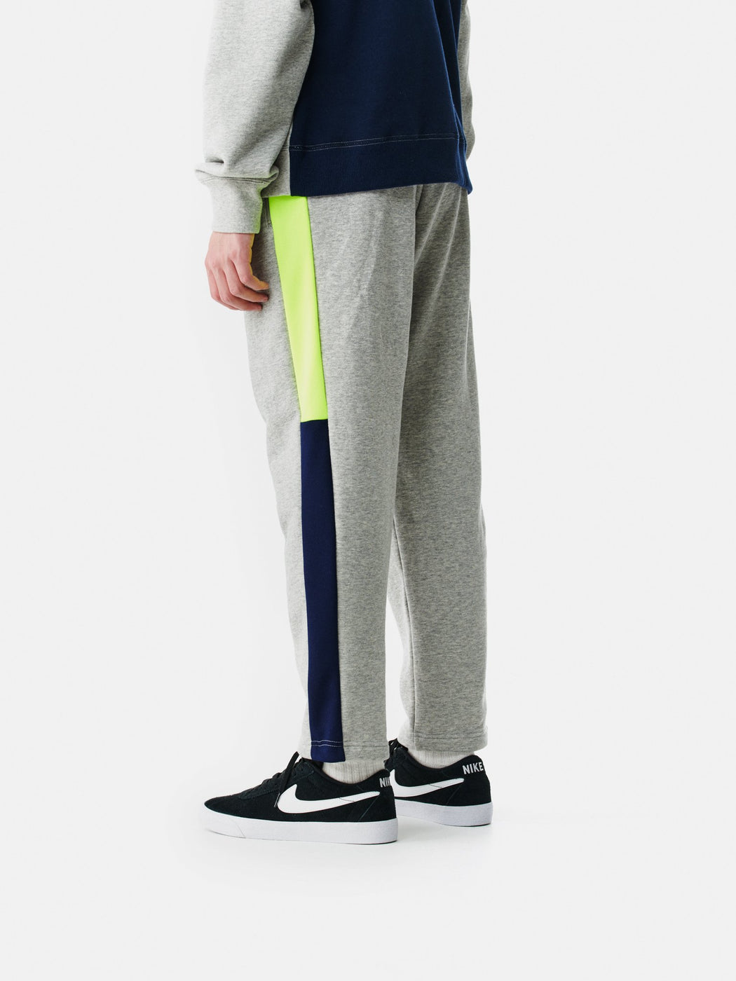 ALOYE Color Block Sweat Pant Heather Gray-Neon Yellow