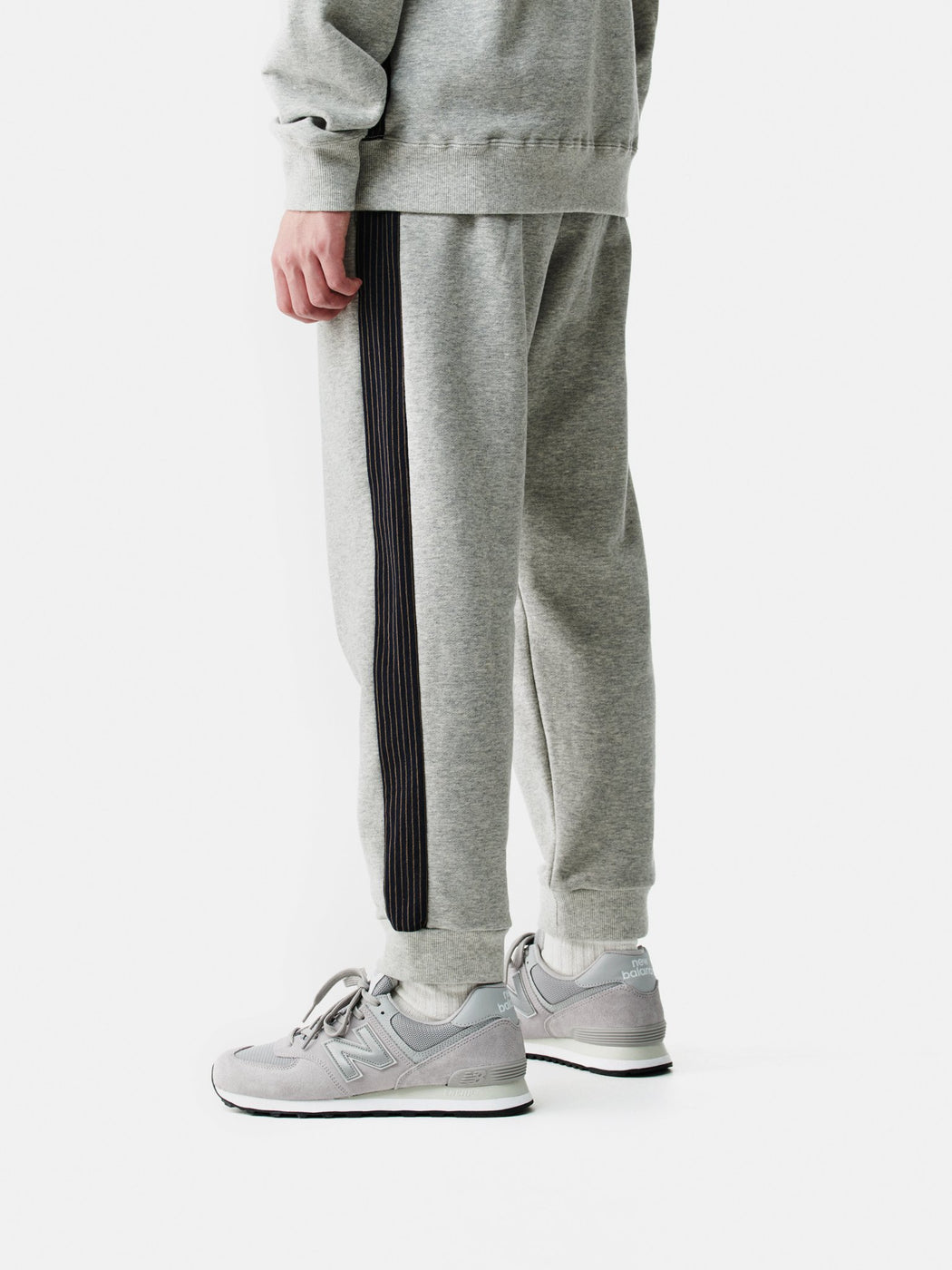 ALOYE Color Block Sweat Pant Heather Gray-Kamedajima Stripe
