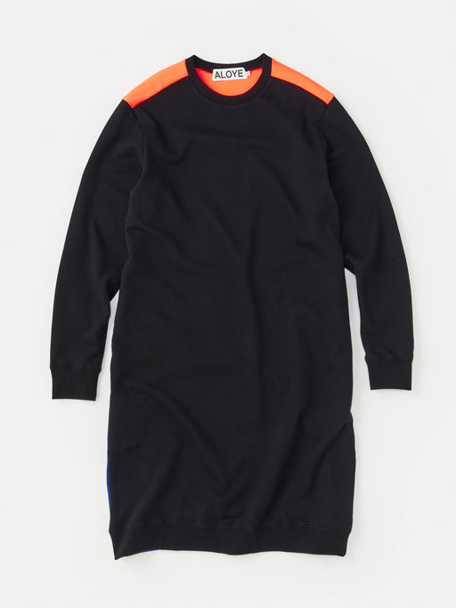 ALOYE Color Block Women's Sweatshirt Dress Black-Neon Orange