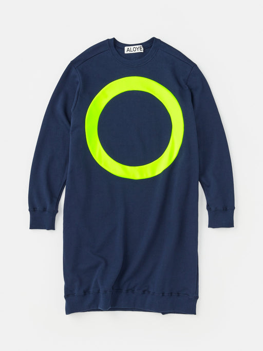 ALOYE Color Block Women's Sweatshirt Dress Navy-Neon Yellow