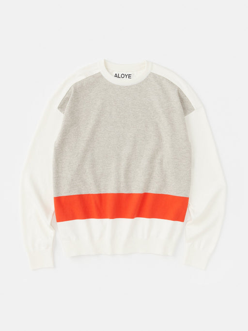 ALOYE G.F.G.S. Cotton Knitted Sweater White-Heather Gray-Red