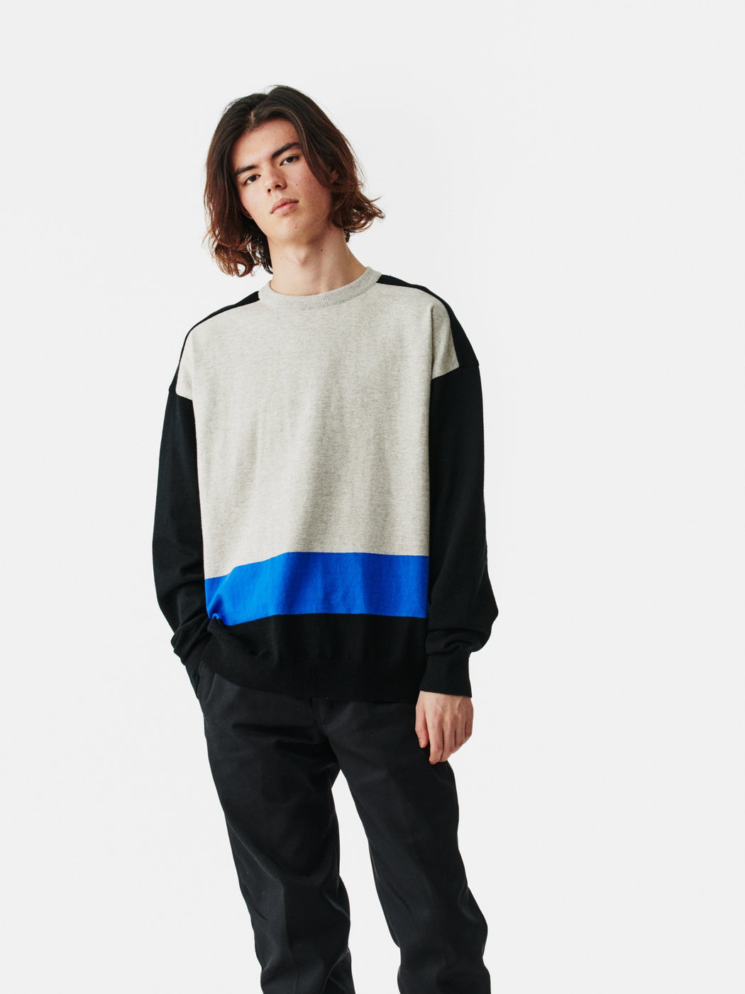 ALOYE G.F.G.S. Cotton Knitted Sweater Black-Heather Gray-Blue