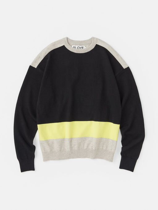 ALOYE G.F.G.S. Cotton Knitted Sweater Black-Heather Gray-Yellow