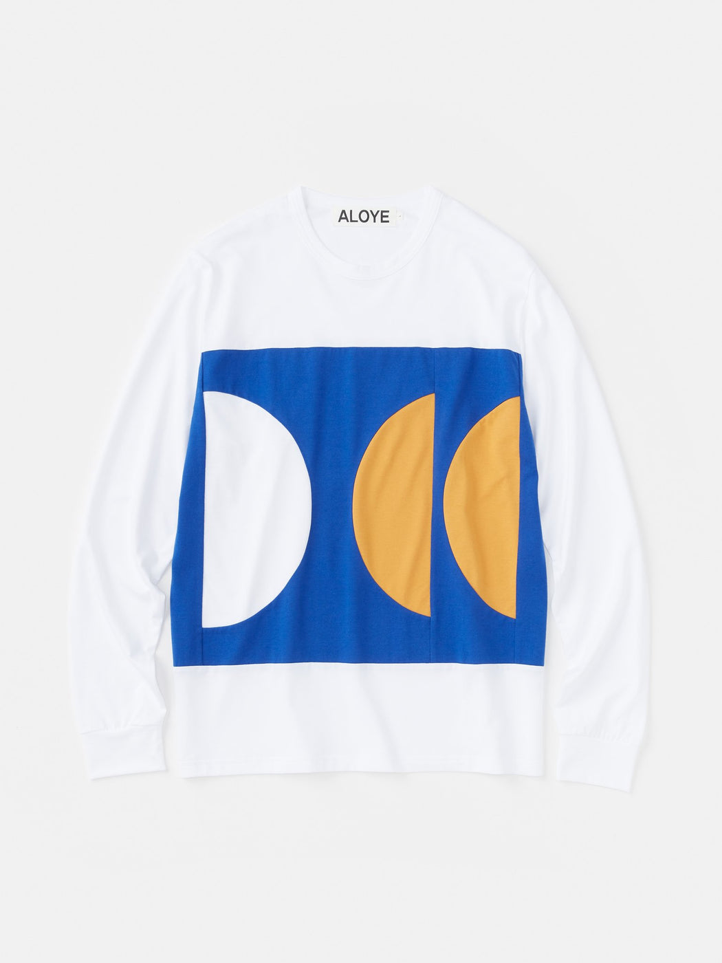 ALOYE Color Blocks Long Sleeve T-shirt White-Blue-Yellow