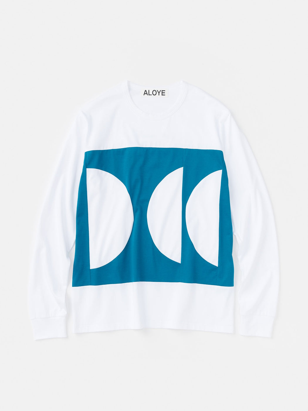 ALOYE Color Blocks Long Sleeve T-shirt White-Green Blue