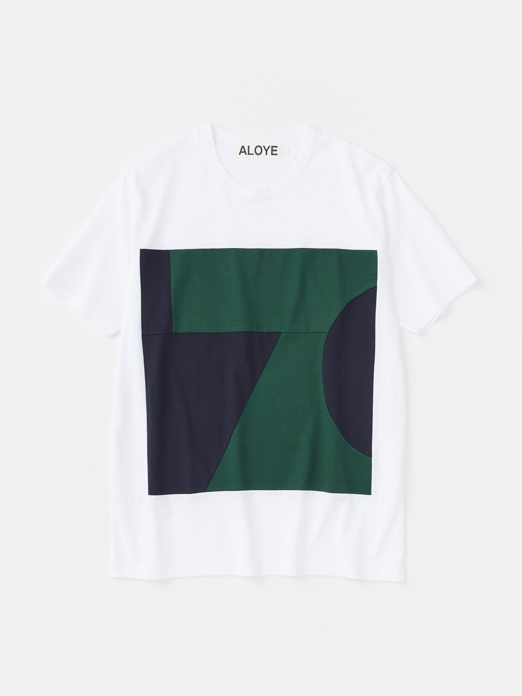 ALOYE Color Blocks Short Sleeve T-shirt White-Green-Navy