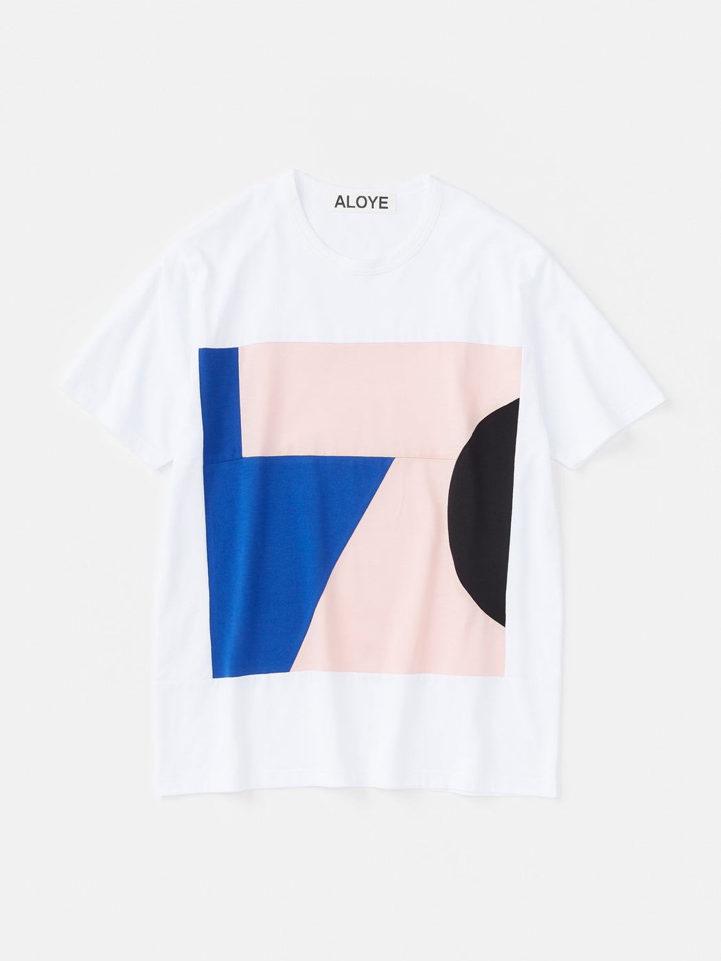 ALOYE Color Blocks Short Sleeve T-shirt White-Pink