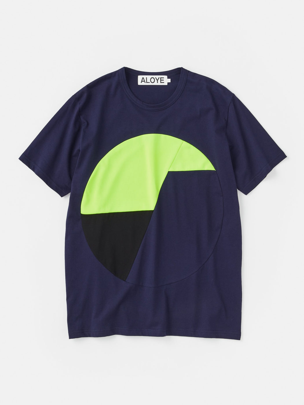 ALOYE Color Blocks Short Sleeve T-shirt Navy-Yellow