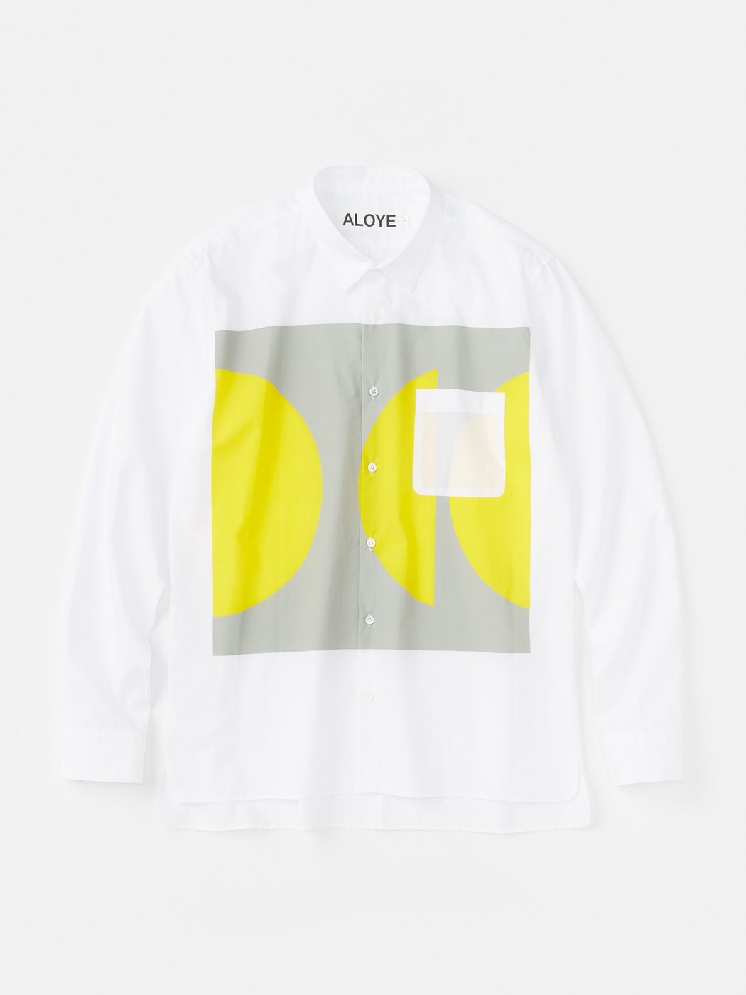 ALOYE Color Blocks Long Sleeve Shirt White-Gray-Yellow