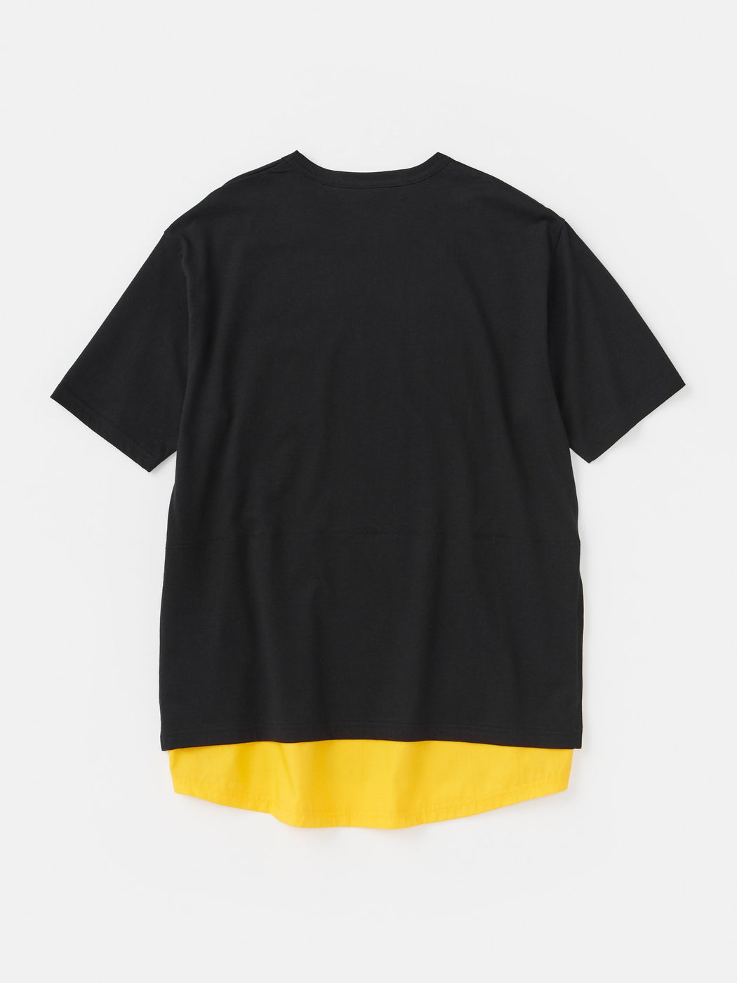 ALOYE Shirt Fabrics Short Sleeve Layerd T-shirt Black-Yellow