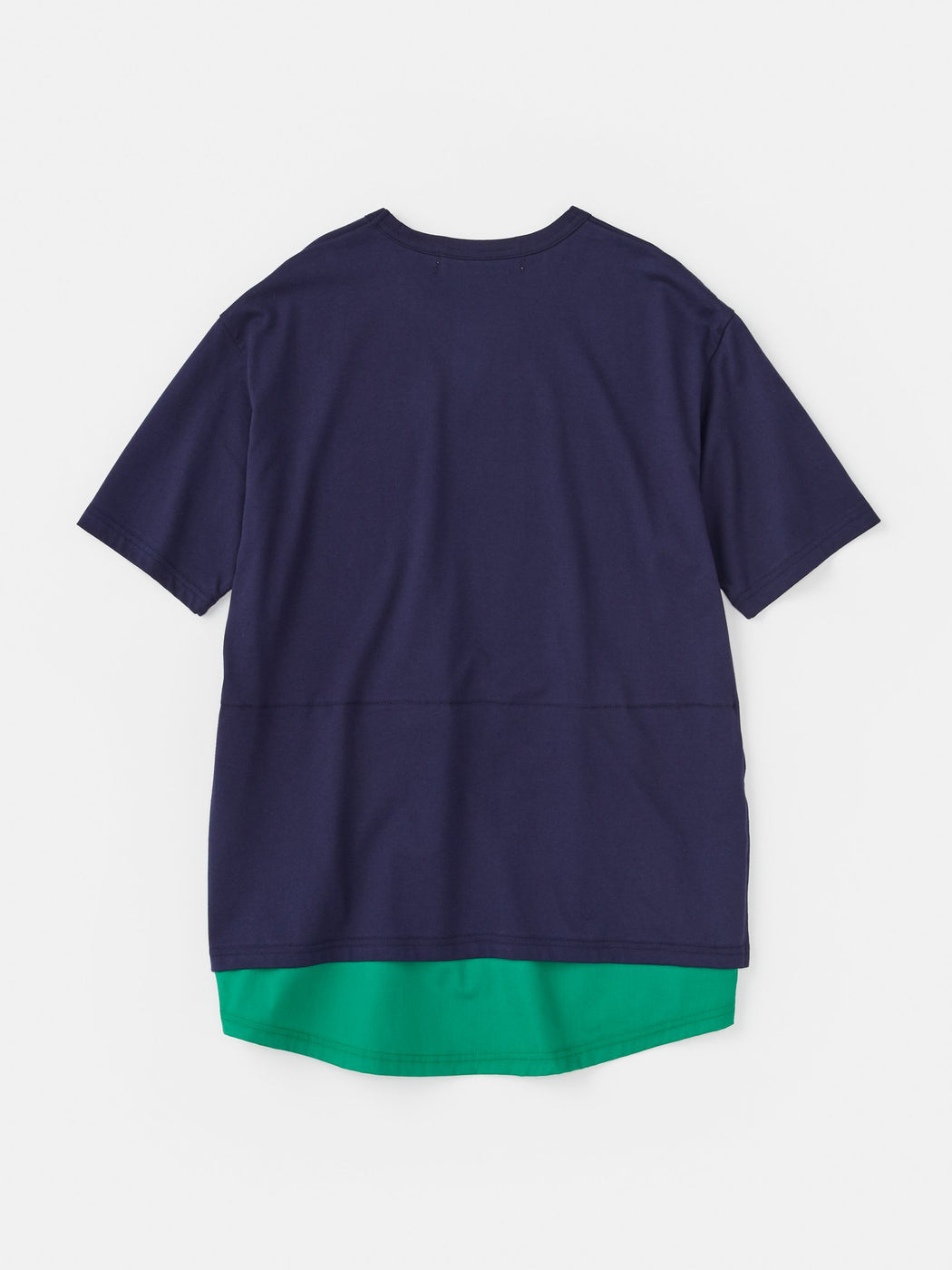ALOYE Shirt Fabrics Short Sleeve Layerd T-shirt Navy-Green