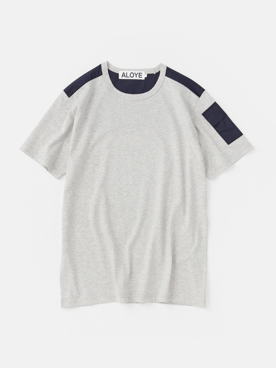 ALOYE Shirt Fabrics Short Sleeve T-shirt Heather Gray-Navy