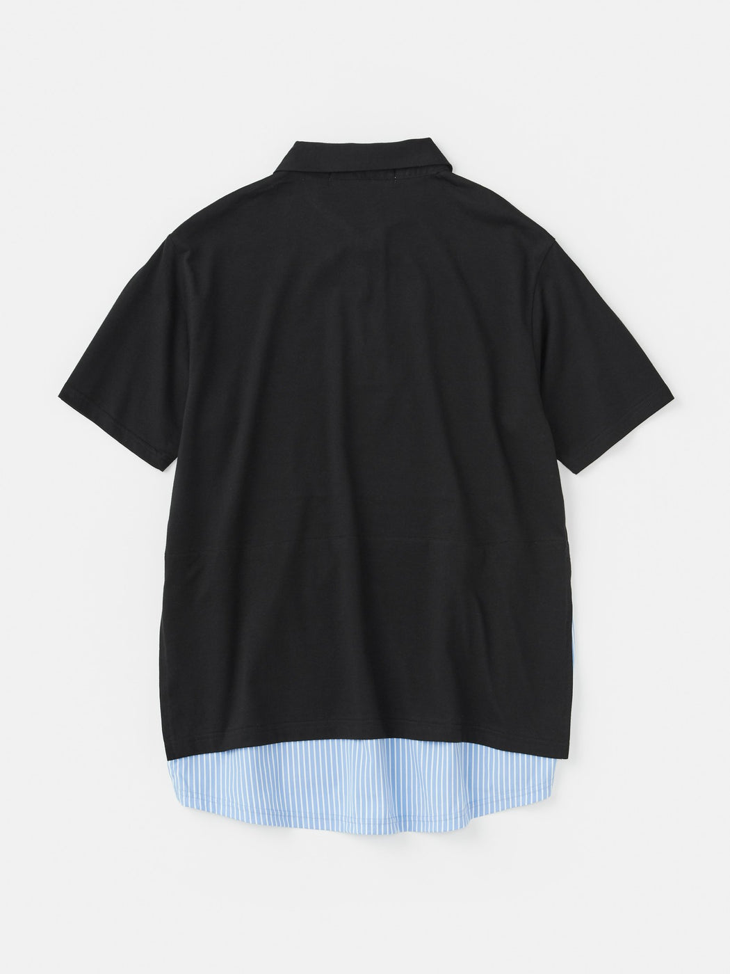 ALOYE Shirt Fabrics Short Sleeve Layerd Polo Shirt Black