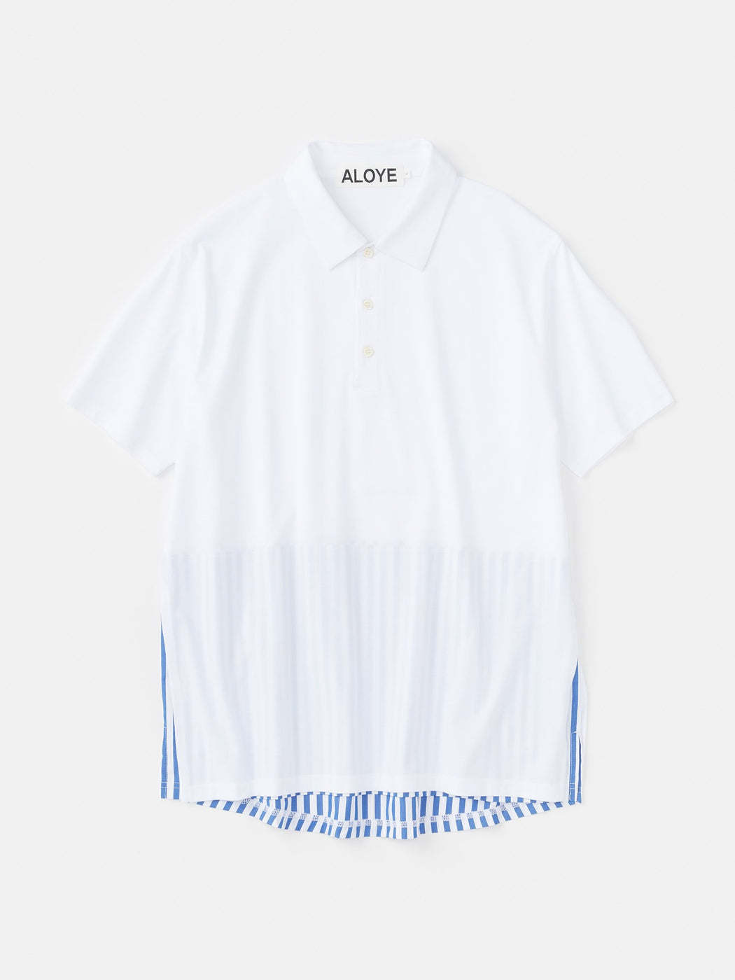 ALOYE Shirt Fabrics Short Sleeve Layerd Polo Shirt White