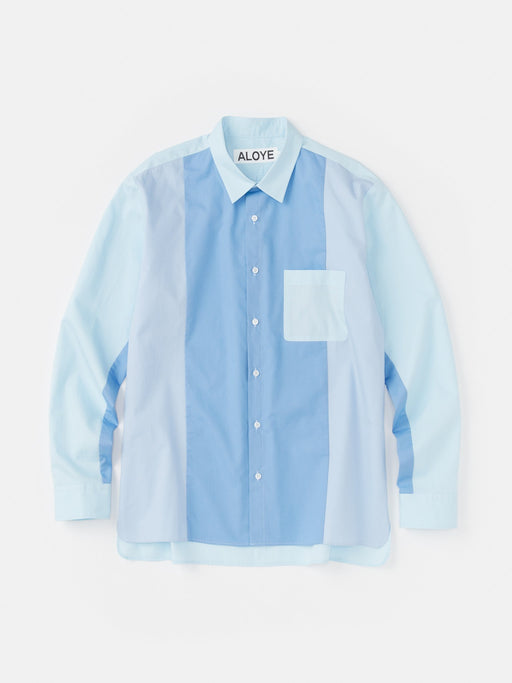 ALOYE Color Blocks Long Sleeve Shirt Blue