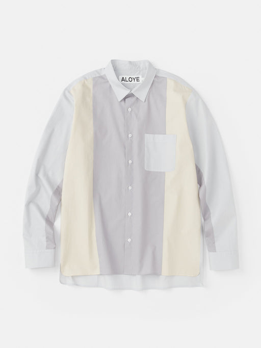 ALOYE Color Blocks Long Sleeve Shirt Gray