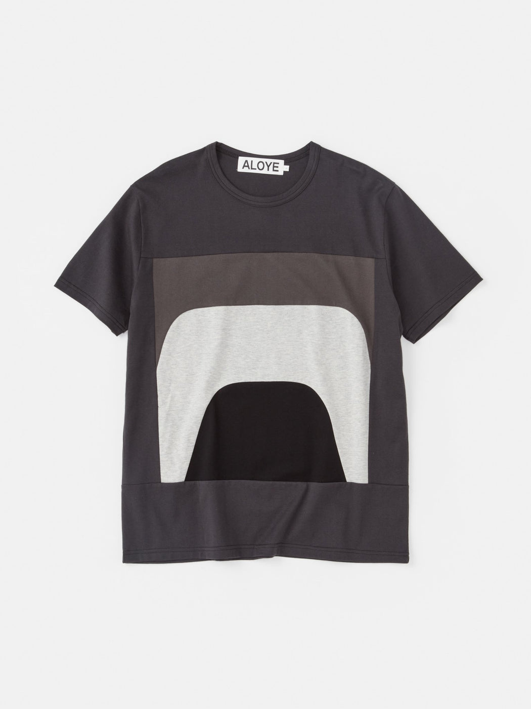 ALOYE Color Blocks Short Sleeve T-shirt Dark Gray